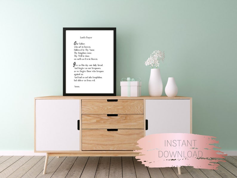 Prayer quote, Lord's Prayer printable, digital art print, Our Father prayer  quote digital wall art, instant download