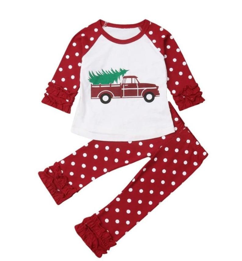 Girls Christmas Ruffle Pajamas Pre-Sale Ruffle Pants