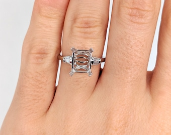 Vintage Style Ring Setting 6.5Mm Round Cushion Cut White Gold Semi-Mount 6 Prong Floral Classic Minimalist 12010a