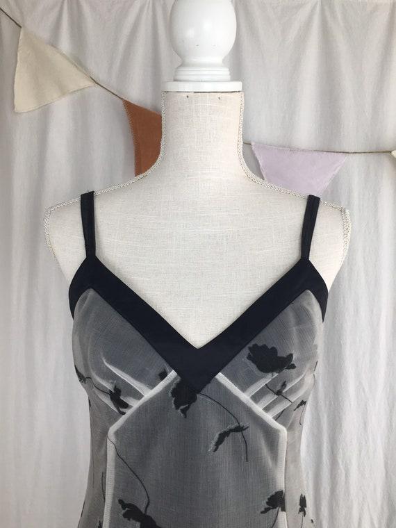 vintage slip dress / 90s black slip and floral lac