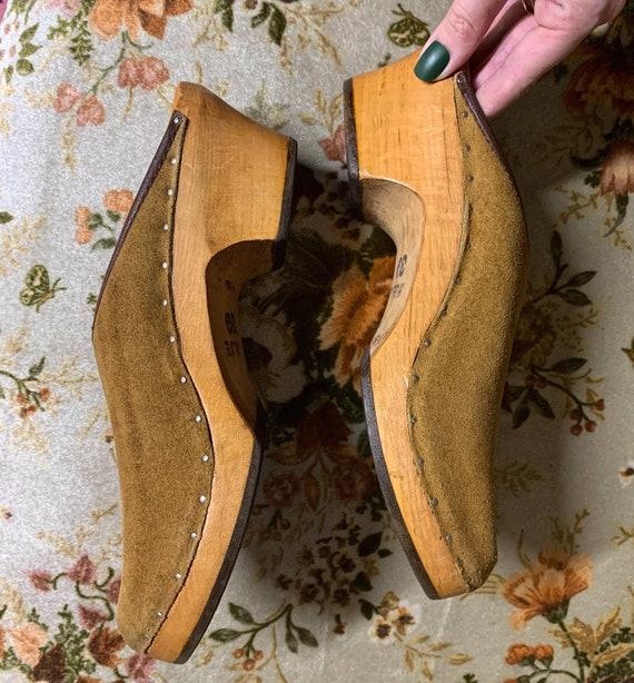 Vintage 1970s Handmade Suede Wooden Clogs
