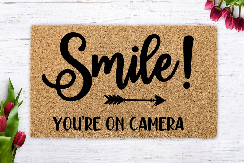 Smile  You're on Camera funny doormat unique birthday image 0