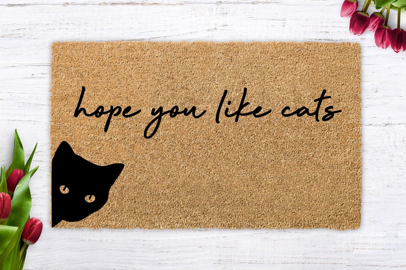 Hope you like cats cat lover cat gift modern doormat image 0