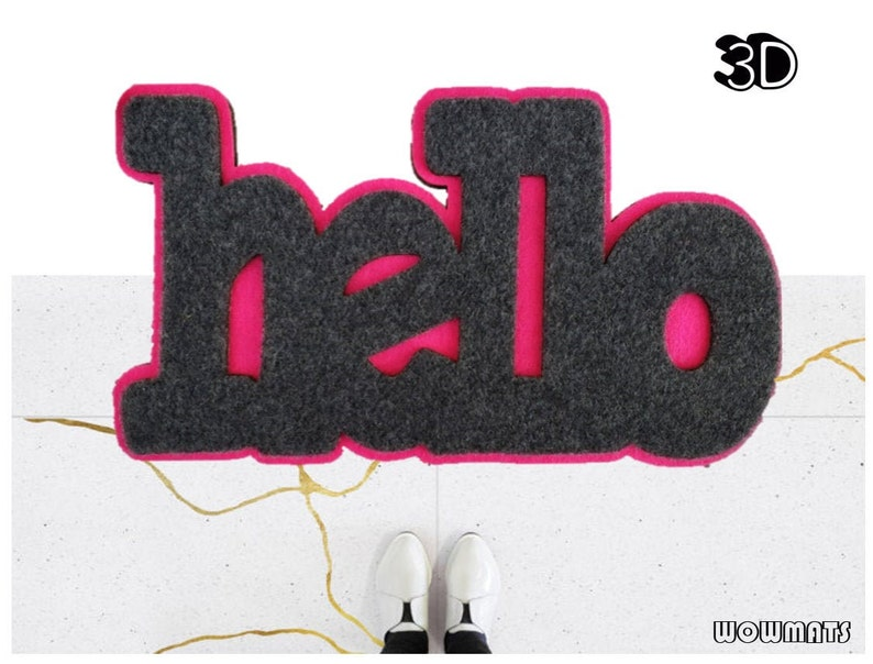HELLO Doormat / 3D doormat / Funny Welcome Mat / Front Porch / image 0