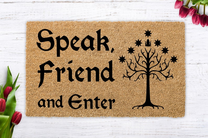 Speak Friend and Enter Lord of the Rings Tolkien door mat image 0