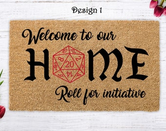 Roll For Initiative, D20, Dungeons and Dragons, Door mat dungeons master, gaming doormat,  Closing Gif , Housewarming Gift, Custom Door mat