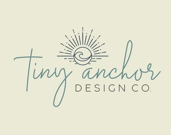 Sunburst and Wave Boho Premade Text Only Logo - Modern Logo Design - Branding - Blog Header - Watermark - Minimalist Logo - Nautical Logo