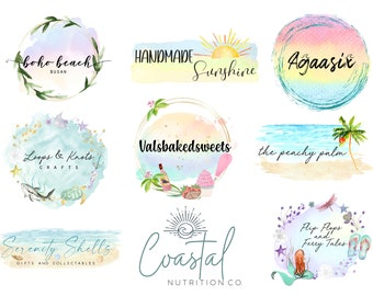 Summer Logo Design, Custom Branding, Beach Business Logo, Ocean Logo, Small Business, Watercolor Logo, Mermaid Logo, Tropical Logo