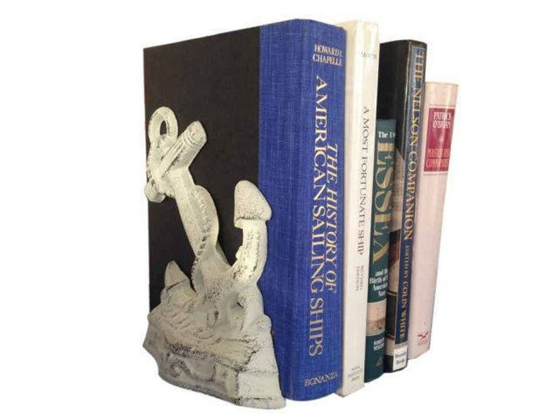 Set of 2 Whitewashed Cast Iron Anchor Book Ends 8
