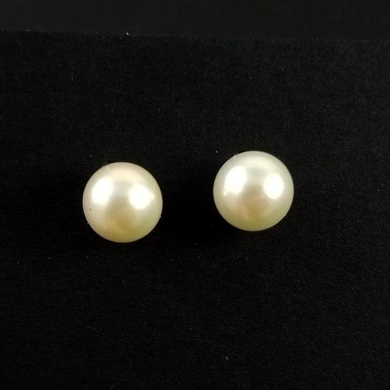 14K Gold Pearl Stud Earrings - Vintage Pearl Studs
