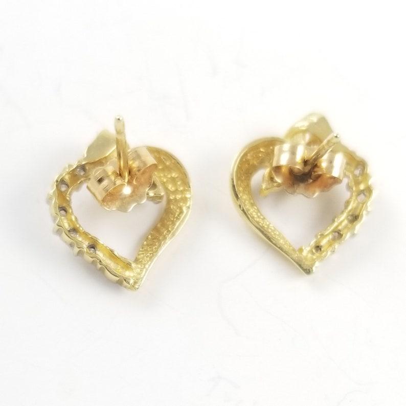 Vintage Gold Earrings 14K Solid Gold and Diamond Heart Earrings Pretty Heart Earrings