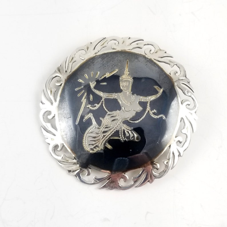 Vintage Sterling Silver Siam Pendant Estate Jewelry Nielloware Brooch Pin