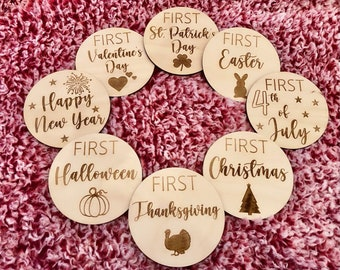 First Holiday Wooden Baby Milestone Disc Set (FOUR double sided discs)