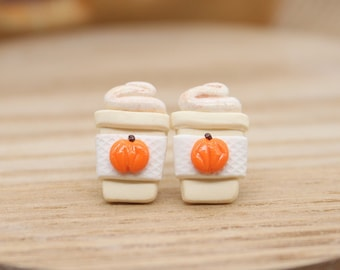 Pumpkin Spice Latte Stud Earrings – Fall Earrings – Autumn Jewelry – Pumpkin Earrings – Birthday Gift – Coffee Lover – Clay Earrings