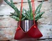 Indoor plant harness, hanging plant hanger, macrame leather plant swing, hygge living minimal lifestyle, green plants hanger, flower hammock
