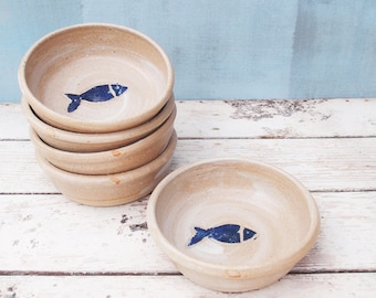 Ceramic Cat Bowl, Stoneware, White/Blue Rustic Pottery With Fish Design