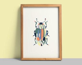 nature print insect print Beetle Artprint black ink A5 wall art Set of three interior wall art