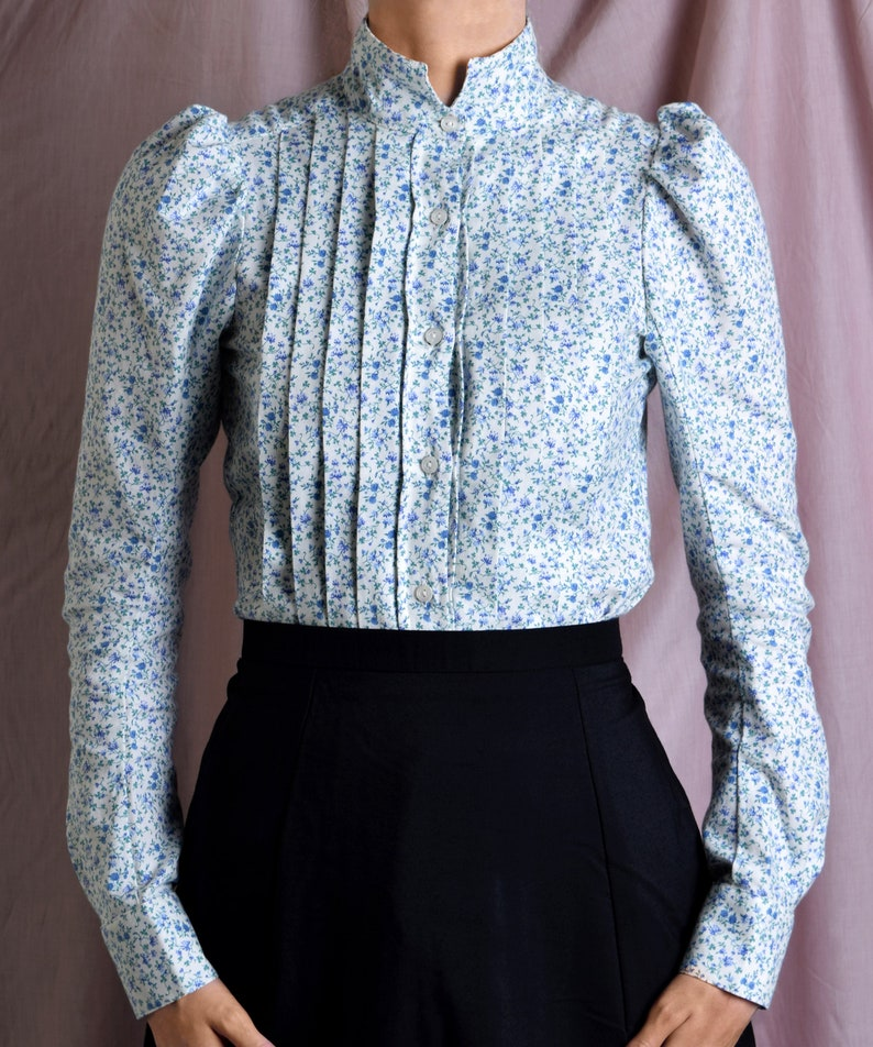 Victorian Blouses, Tops, Shirts, Sweaters Liberty Print Fabric Ladies Victorian Blouse (BL002) Darcy $192.01 AT vintagedancer.com