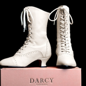 Victorian Boots & Shoes – Granny Boots & Shoes Victorian Lace Up Stone Coloured Leather Boots Darcy $208.71 AT vintagedancer.com