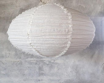LINEN LIGHT SHADE – Fringed Linen Light Shade – Handmade Oval Shape Pendant Light Shades – Modern Ceiling Light Shades – Hanging Light