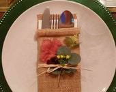 Natural Hessian Utensil Holders Silverware Napkin Holders Cutlery Pouch Bag for Wedding Autumn Christmas Party Table Setting Decorations x 4