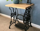 Harris's Cast Iron Sewing Machine Treadle Console Table Dinning Living Room Bathroom Side Table Desk Solid Wood Ash Antique Vintage Table