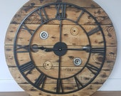 Wooden Rustic Bespoke Industrial Reclaimed Up-cycled Country Farmhouse Electric Rustic Cable Reel Drum Wall Clock With Metal Numerals Large