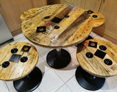 Wooden Cable Drum Reel Round Dinning Living Room Pub Table With Metal Legs Industrial Up-cycled Refurbished Reclaimed Rustic Handmade