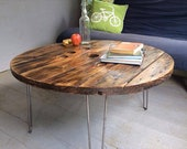 Wooden Cable Drum Reel Round Coffee Living Room Table Metal Industrial Up-cycled Refurbished Reclaimed With Hairpin Legs Handmade