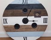 Wooden Rustic Bespoke Industrial Reclaimed Up-cycled Farmhouse Country Cable Reel Drum Wall Clock Medium Heavy