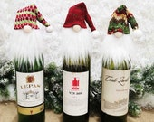 Christmas Gnome Troll Wine Gin Spirit Bottle Cover Santa Hat Xmas tree Hanging Decoration