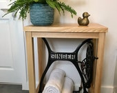 Singer Console Table Cast Iron Sewing Machine Treadle Timber Dinning Living Room Bathroom Hall Table Solid Wood Ash Vintage Desk Industrial