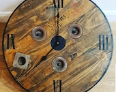 Wooden Rustic Bespoke Industrial Reclaimed Up-cycled Industrial Country Farmhouse Electric Rustic Cable Reel Drum Wall Clock
