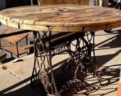 Singer Iron Cast Sewing Machine Treadle Dinning Living Room Garden Table Solid Wood Oak Antique Vintage Rustic Table Reclaimed