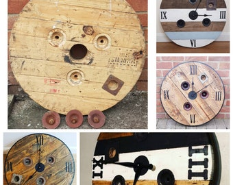 Wooden Rustic Cable Reel Top Clock DIY Bundle Ideal to make  Industrial Reclaimed Industrial Country Farmhouse Rustic Cable Reel Drum Clock