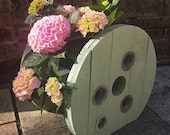 Wooden Rustic Cable Drum Cable Reel Garden Pot Planter Upcycled - choose your colour