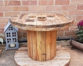 Wooden Cable Drum Reel Perfect For Coffee Table, Seat, Bookshelf, Patio Table, Wall Clock, Display Cabinet PLAIN SMALL
