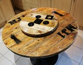 Wooden Cable Drum Reel Round Dinning Living Room Pub Restaurant Tapas Table With Metal Legs Lazy Susan Industrial Rustic Handmade