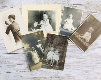 Antique photographs of children - Junk Journal Ephemera - Vintage Photo Postcards