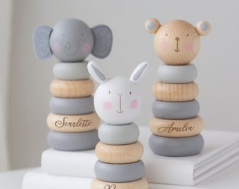 Personalised Wooden Elephant, Teddy or Bunny Stacking Toy