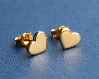 Solid 14k Gold Earrings Beveled Gold Heart Earrings Little Gold Heart Earrings,Tiny Studs Mini Gold Heart Studs Gold Heart Earrings