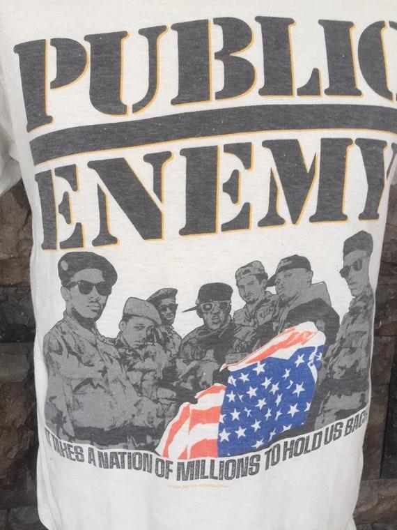 Vintage 80s Public Enemy Hip Hop rap tee t shirt