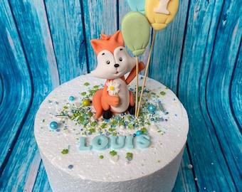 Party Fox Fox Lion Cake Decoration BabyParty Topper Fondant Figure Cake Baby 1st Birthday Birthday Balloons