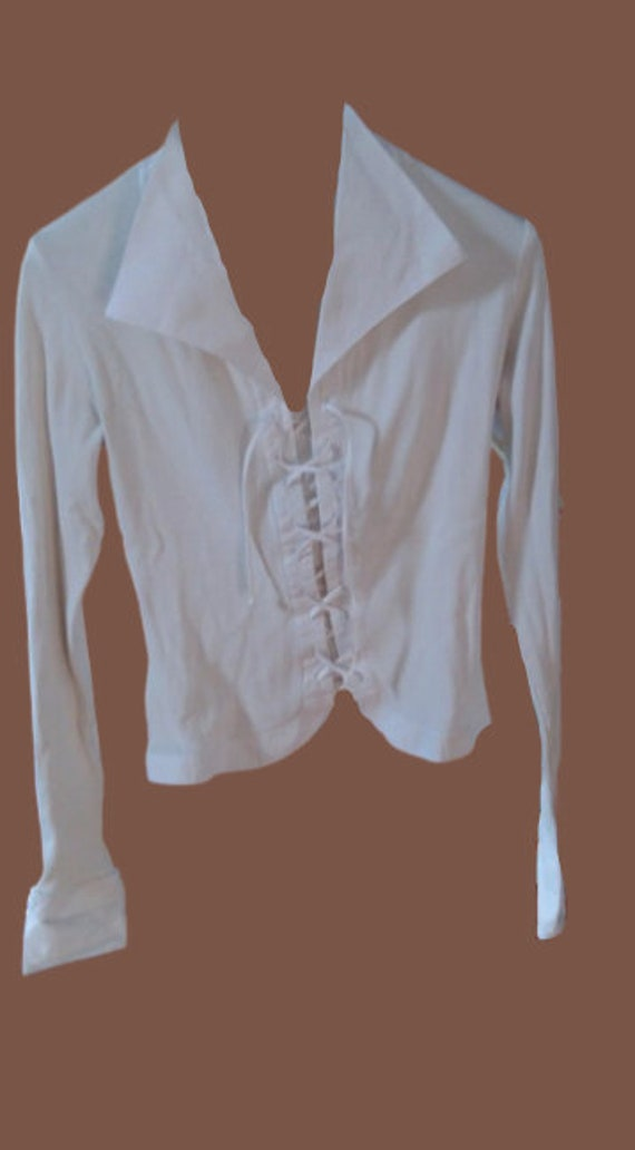 White Laced Blouse Big Collar M