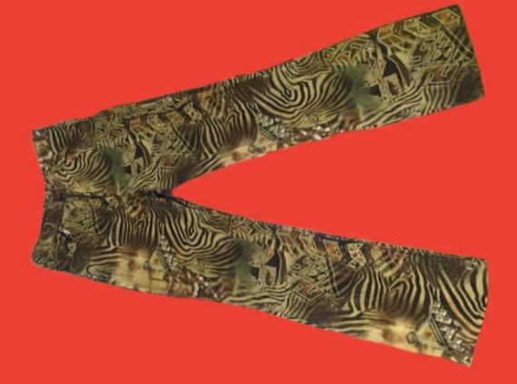 African Zebra Print Pants M