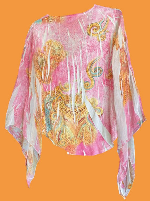 Multicolor Frills Cashemere Print Flare Sleeves M