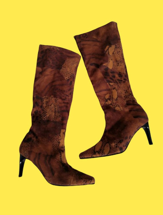 Brown Suede Animal Print Patchwork Boots 39