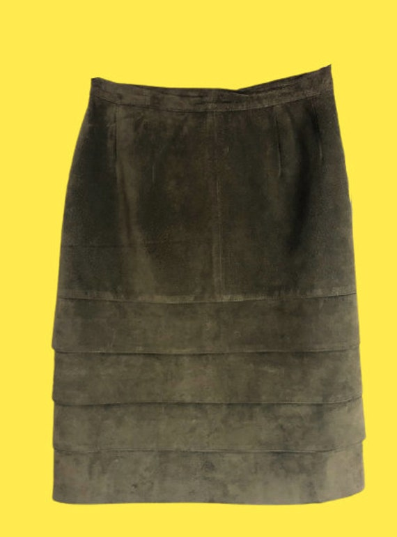 Green Leather and Gold Buttons Skirt L