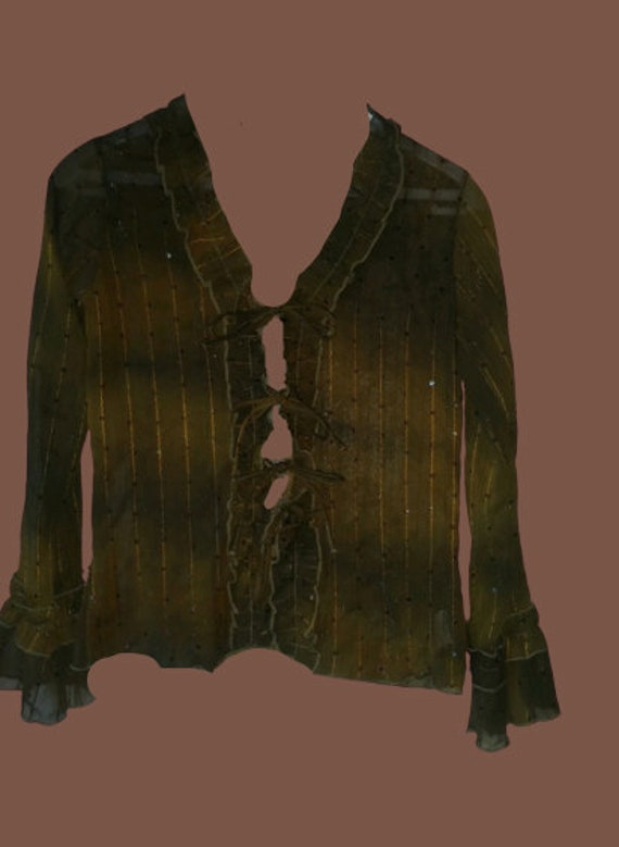 Green Tie and Dye Mesh and Sequins Blouse M