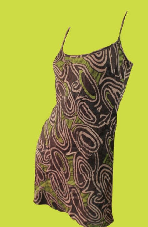 Psychedelic Green Print Tank Dress XL